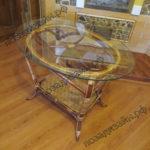 Плетеный стол со стеклом - фото1